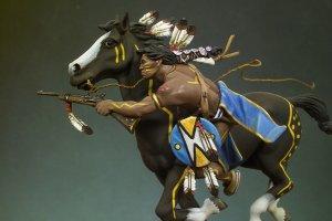 Guerrero Sioux disparando carabina  (Vista 2)