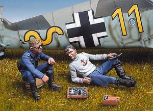 Pilotos alemanes jugando al ajedrez  (Vista 1)