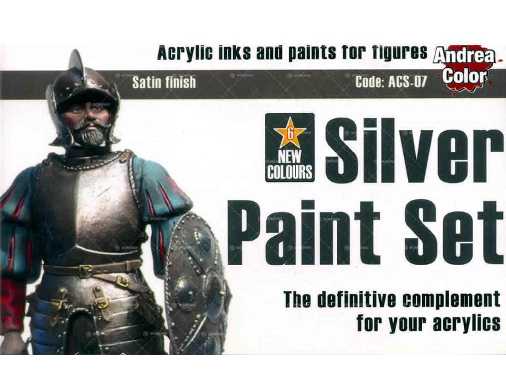 Set de pintura plateado. (Vista 1)