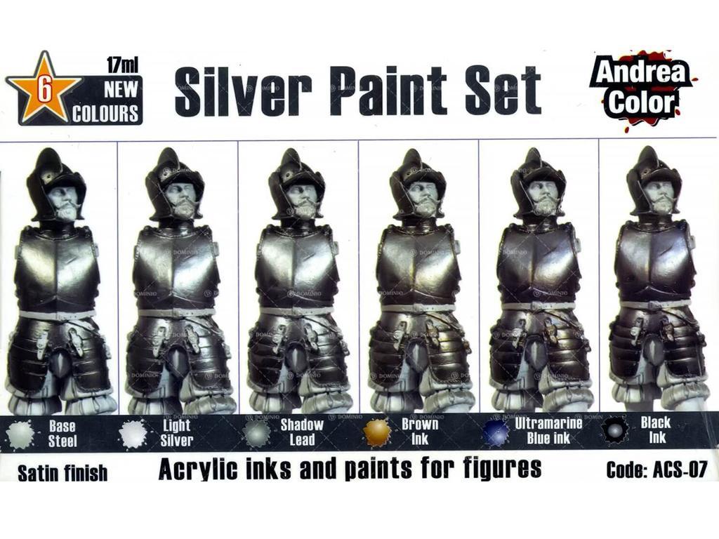 Set de pintura plateado. (Vista 2)