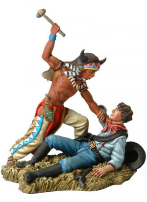 Sioux warrior fighting with us cavalryma  (Vista 1)