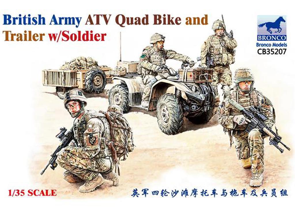 ATV Quad del Ejército Británico y Trailer con Soldados (Vista 1)