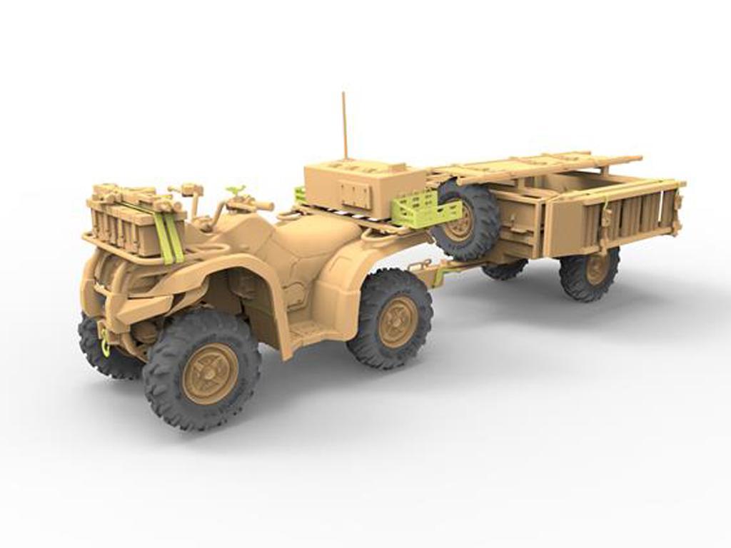 ATV Quad del Ejército Británico y Trailer con Soldados (Vista 3)