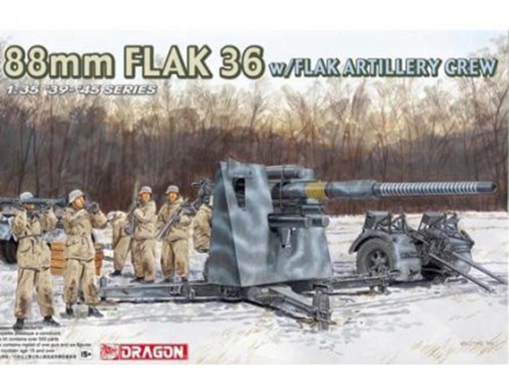 Cañon 88mm Flak 36 y sirvientes - Ref.: DRAG-6260