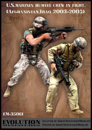 U.S. marines humvee crew in fight   (Vista 1)