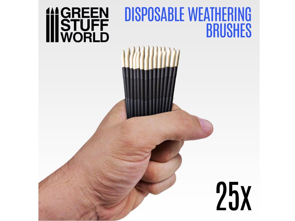 25 Pinceles Weathering Desechables (Vista 1)