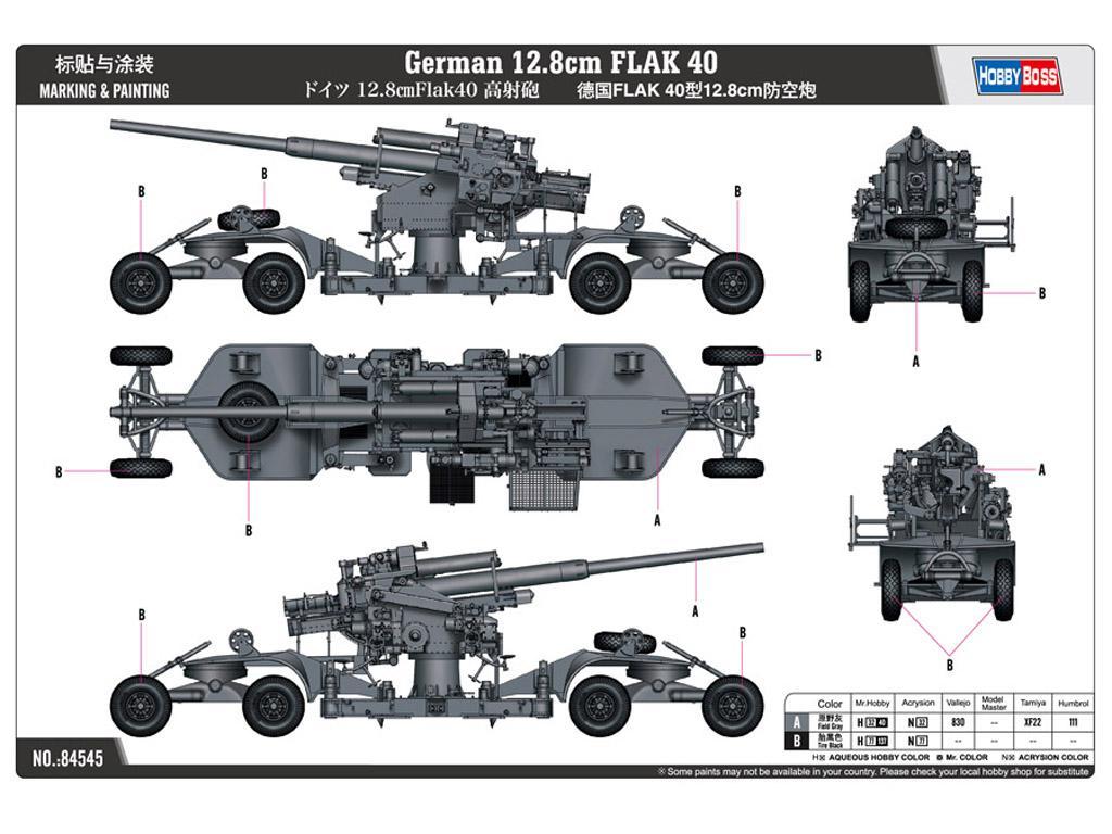 Cañón antiaéreo alemán 12,8cm. Flak 40 (Vista 2)
