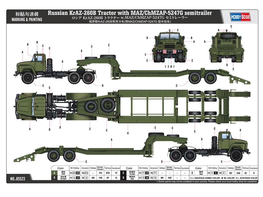 Camion Ruso KrAZ-260B con semirremolque MAZ/ChMZAP-5247G (Vista 2)