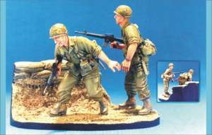 101St Airborne 1965-66 - 2 Figs w/ Base  (Vista 1)