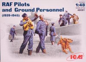WWII RAF pilotos y grupo de personal  (Vista 1)