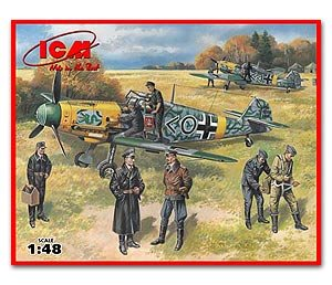 Bf 109F-2 with German Pilots and Ground   (Vista 1)