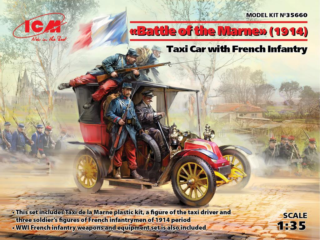 Batalla del Marne 1914 Taxi con Infantería Francesa (Vista 1)