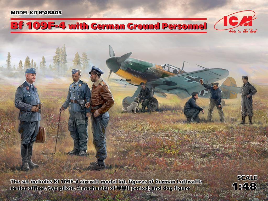 Bf 109F-4 con personal de tierra Aemán (Vista 1)