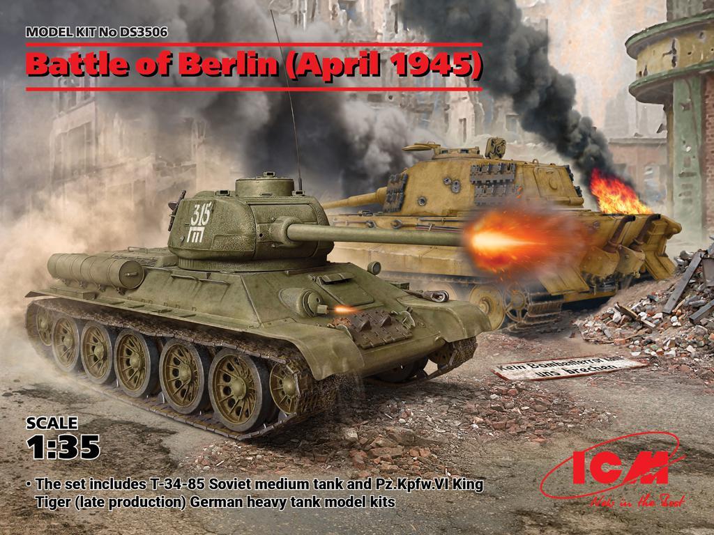 Batalla de Berlin April 1945 - T-34-85, King Tiger (Vista 1)