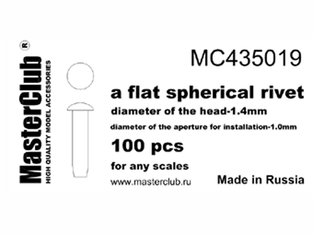 Remache esférico plano 1.4 mm (Vista 1)