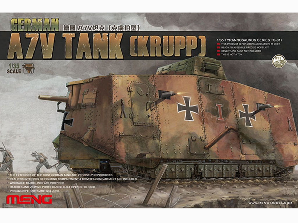 The Panzer Empire's Moving Fortress A7V - Ref.: MENG-TS017