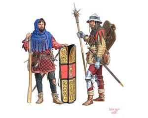 Infantes y Mesnaderos medievales.   (Vista 2)