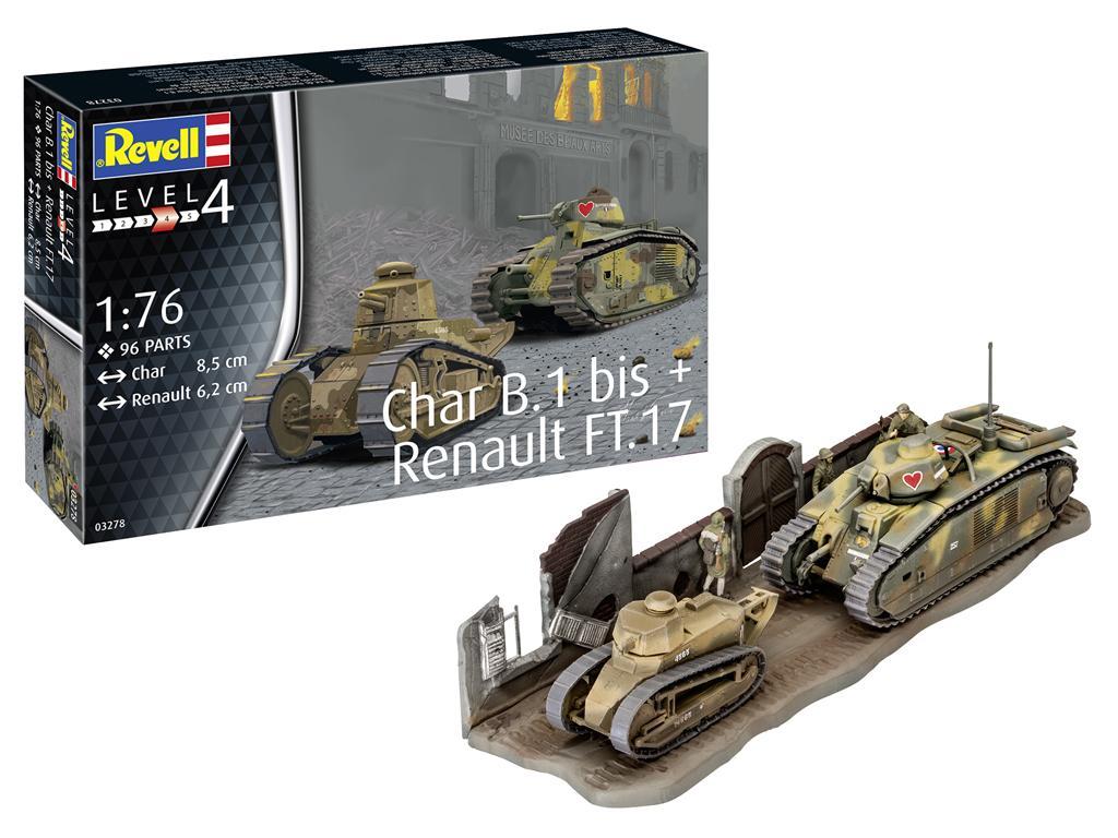 Char B.1 bis & Renault FT.17 (Vista 1)