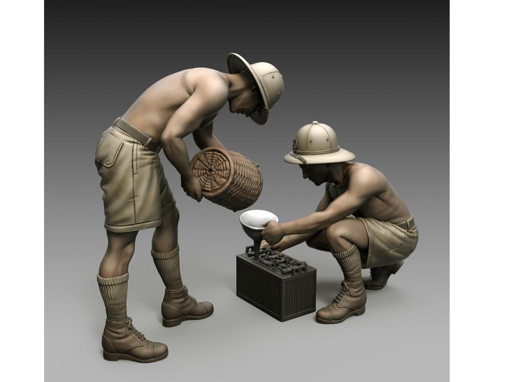 Soldados Italianos mantenimiento de la batería (Vista 1)
