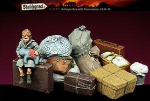 El muchacho de refugiados con las posesi  (Vista 1)