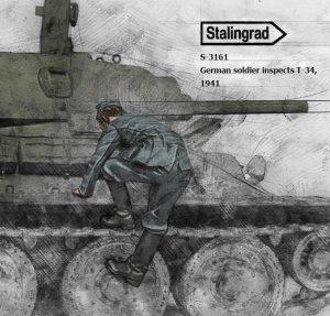 Soldado Aleman 1941 Inspeccionando T-34  (Vista 2)