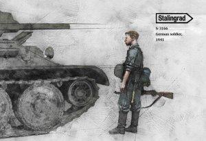 Soldado Aleman Inspeccionando T-34 1941  (Vista 2)