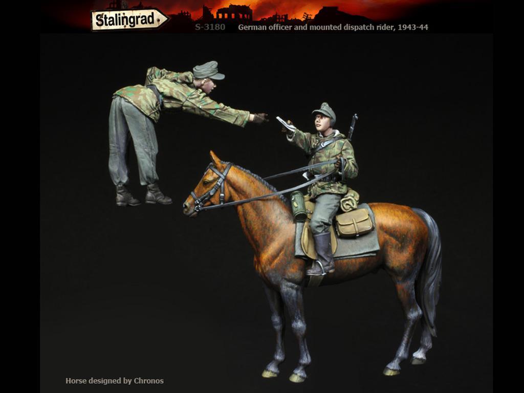 Oficial alemán y  jinete de despacho montado, 1943-44 (Vista 3)